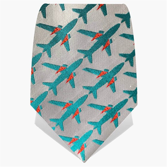 Silver & Turquoise Planes Tie