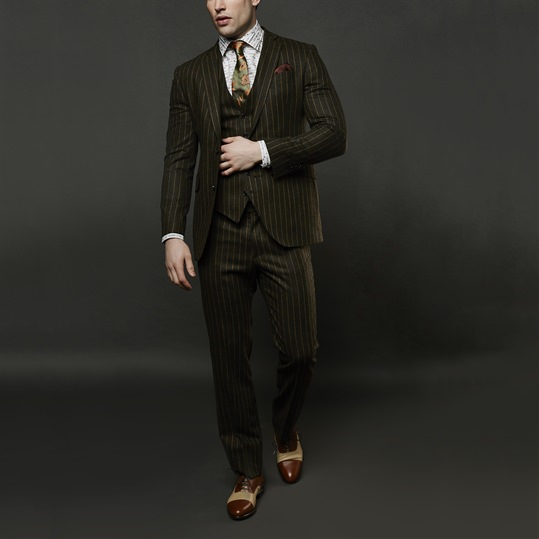 Gold Chalkstripe Suit