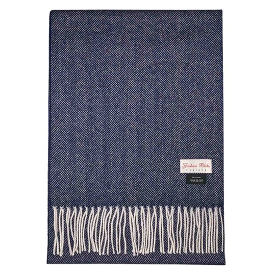 Denim Blue Herringbone Scarf