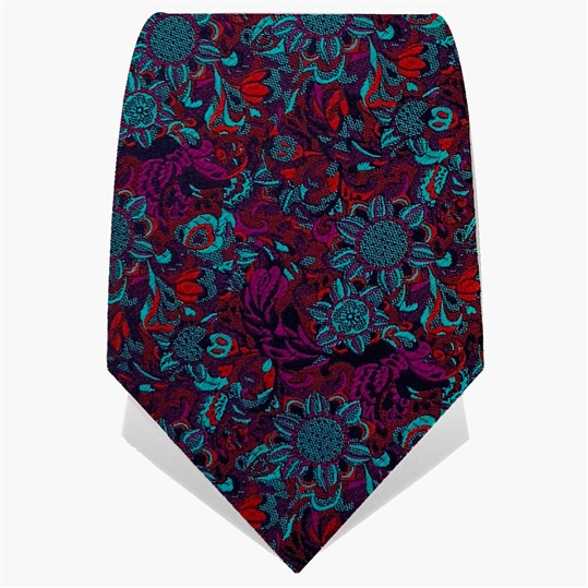 Teal Psychedelic Crow Tie