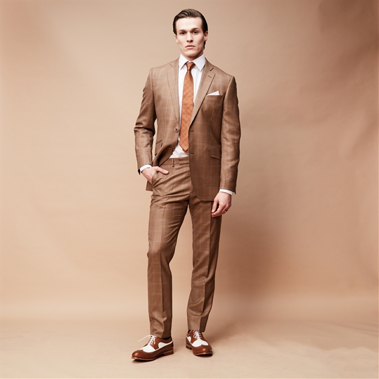 Brown Houndstooth Wool 2 Piece Suit