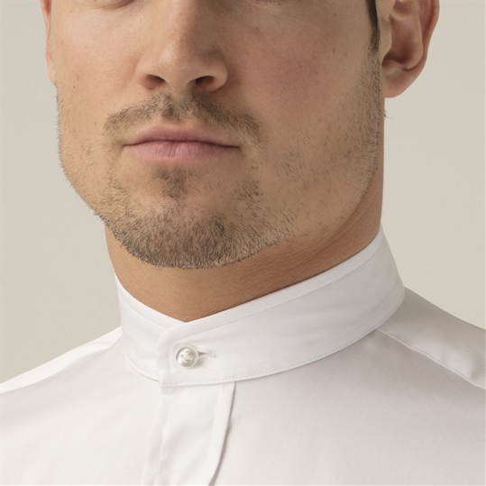 White Nehru Collar Shirt
