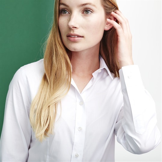 Womens Plain White Single Cuff Shirt
