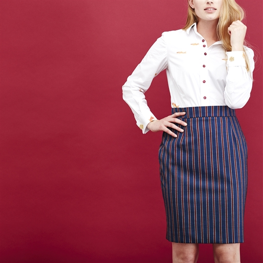 Ladies Red Stripe Skirt