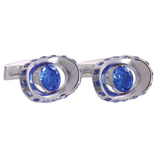 Silver & Blue Gemstone Eye Cufflinks