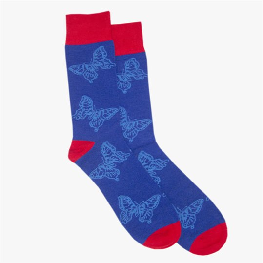 Blue Butterfly Sock