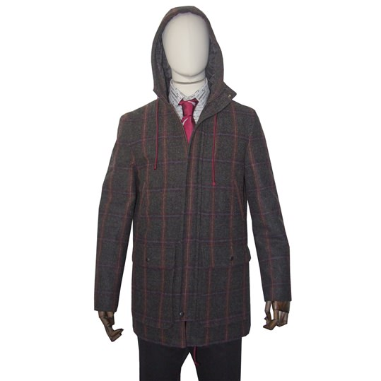 Brown check hooded 'River' coat