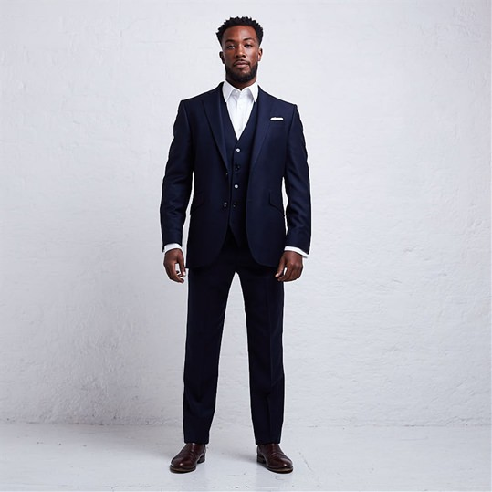 Navy Two Piece Flannel Suit