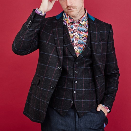 Black & Pink Window Pane Check Jacket