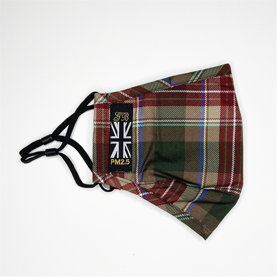 PM2.5 Brown Tartan Face Mask