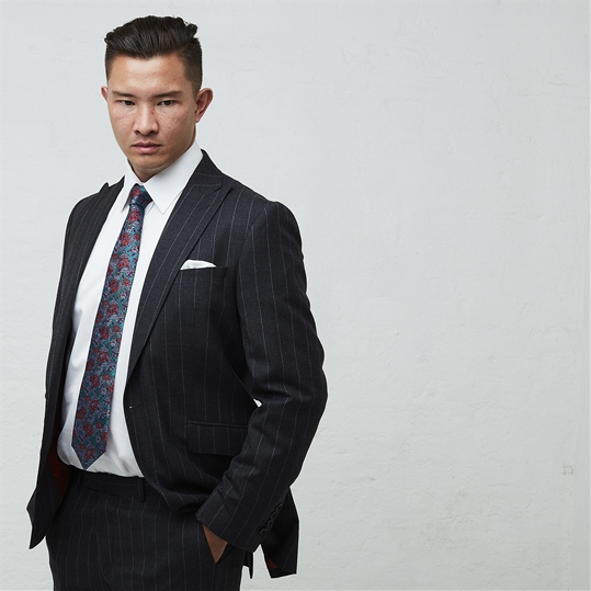 Charcoal Worsted Chalk Stripe 2 Piece Suit