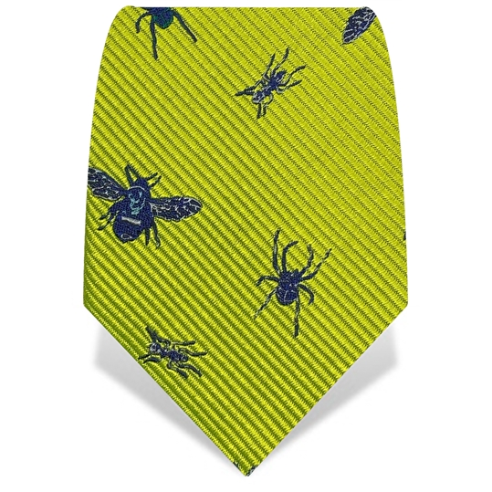 Yellow & Blue X-Ray Insects Silk Tie