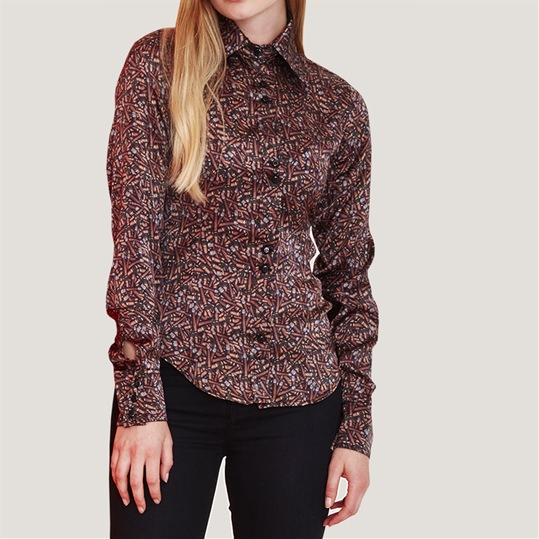 Womens Silk Cigar Shirt