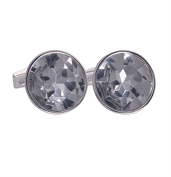 Clear Silver Round Gem Cufflinks