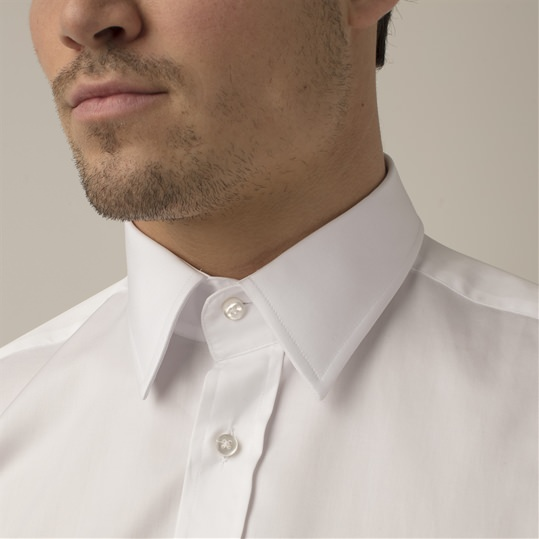 White Double Cuff Kent Collar Shirt