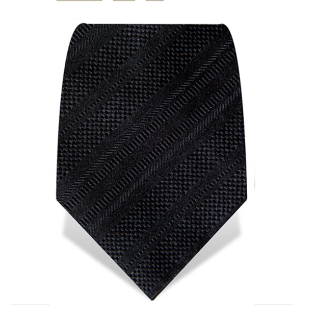 Black Ribbed Stripe Tie