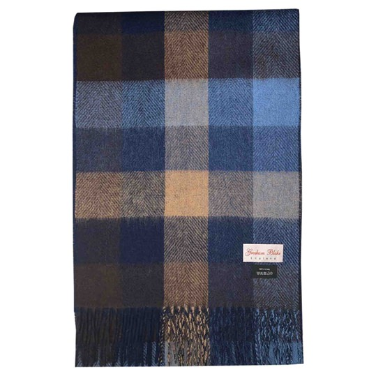 Brown & Blue Checked Scarf