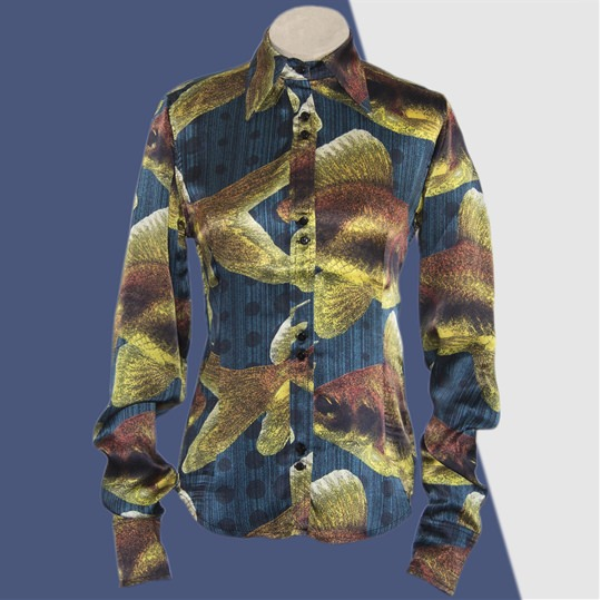 Dark Blue Silk Goldfish Shirt