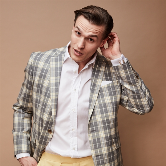 Cool Grey Check Wool Jacket