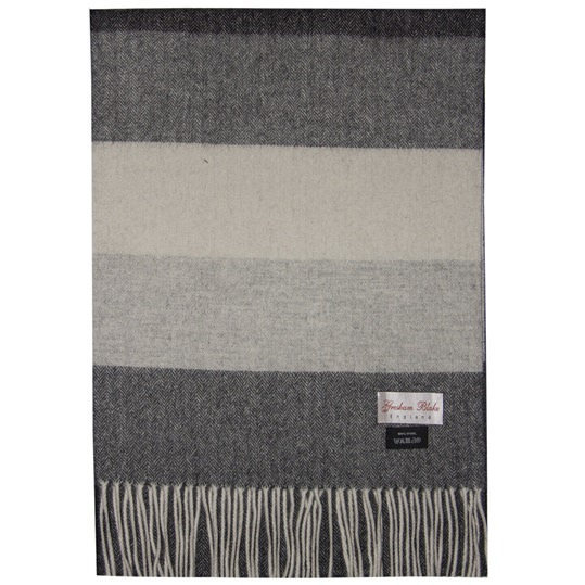 Grey Striped Wool Scarf