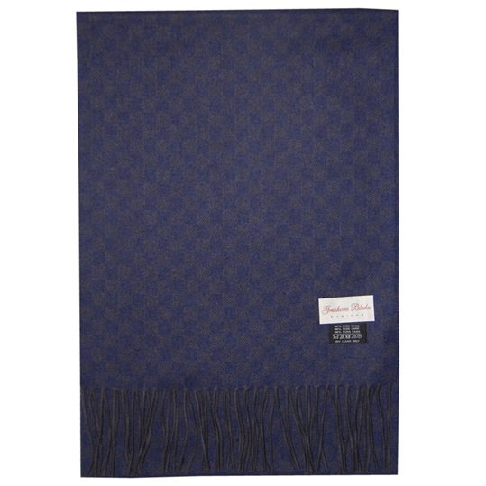 Navy/ Grey Check Scarf