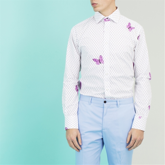 White Large Butterfly Net Shirt