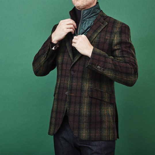 Green Wool Inserted Jacket