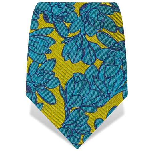 Yellow & Blue Magnolia Tie