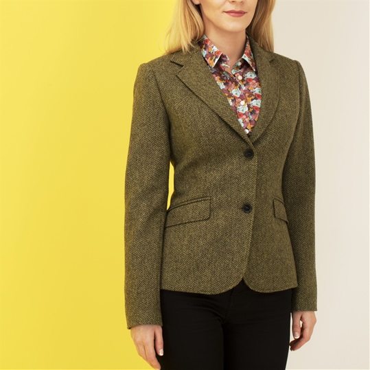 Ladies Green Herringbone Tweed Jacket