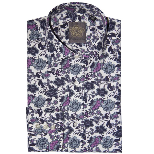 White and Blue Flower Shirt