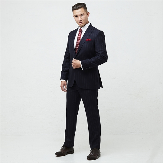Navy Worsted Chalk Stripe 2 Piece Suit