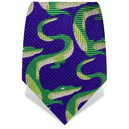 Navy & Green Crocodile Silk Tie