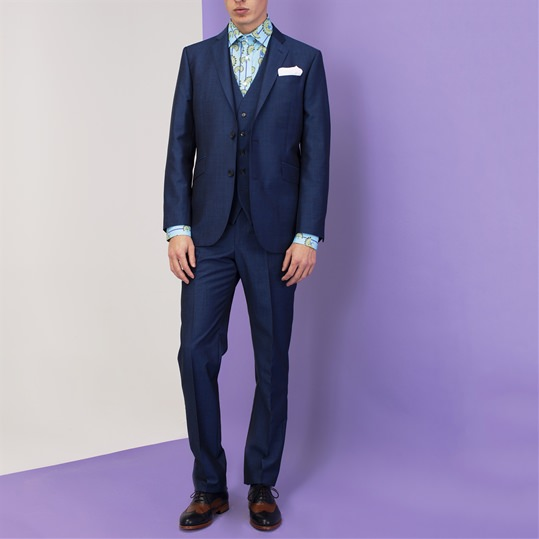 Blue Mohair and Wool Suit