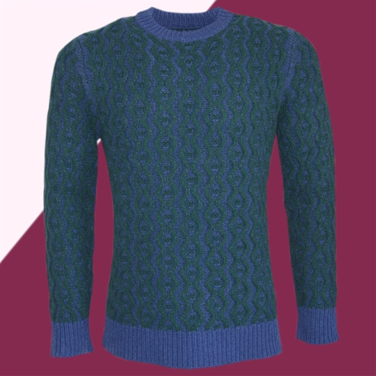 Blue & Green Cable Knit Jumper