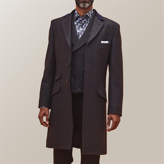 Blue Check Covert Coat