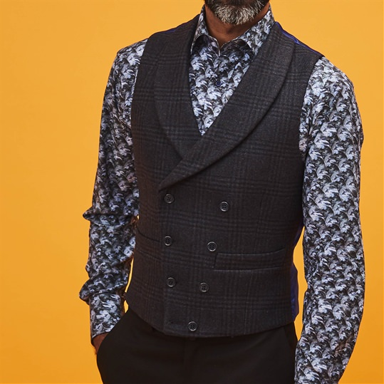 Blue Check Double Breasted Waistcoat