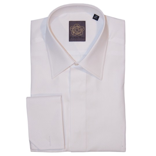 White Honeycomb Dress Shirt