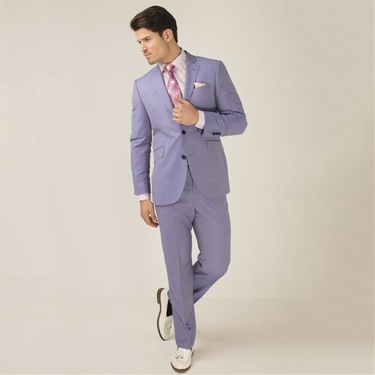 Powder Blue Herringbone 2 Piece Suit