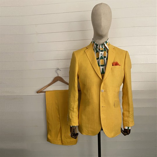 Yellow Linen 2 Piece Suit