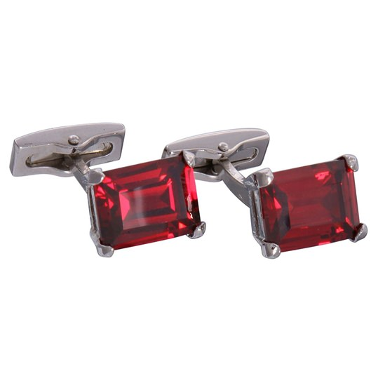 Silver & Red Gemstone Cufflinks