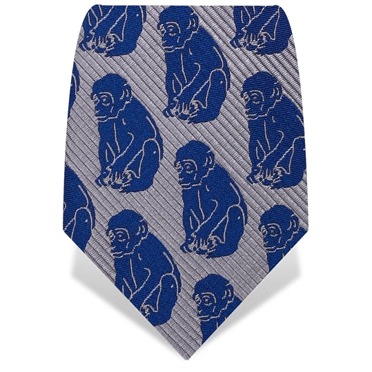 Silver & Blue XII Monkeys Silk Tie