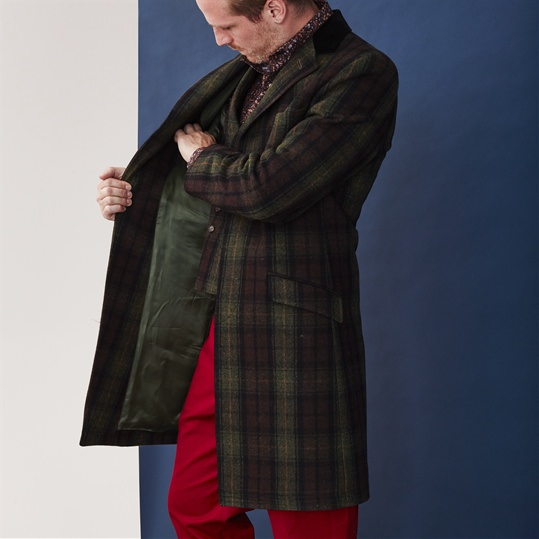 Green Check Wool Covert Coat