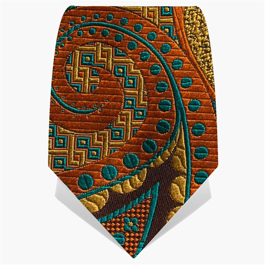 Orange and Teal Oversize Paisley Tie
