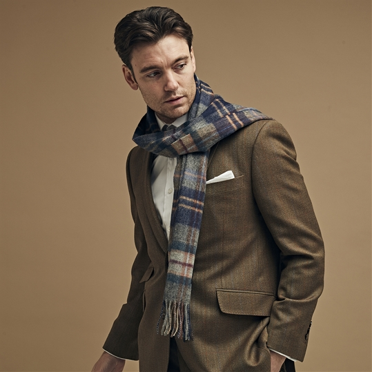 Blue & Grey Checked Scarf