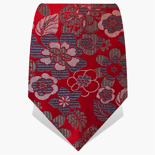 Red Floral Logo Tie