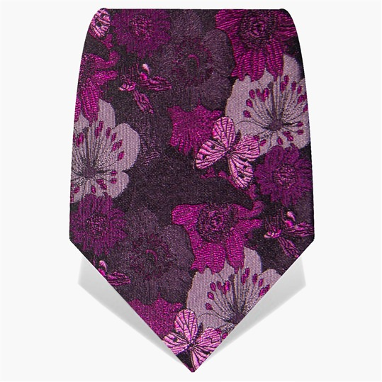 Purple Floral Silk Tie