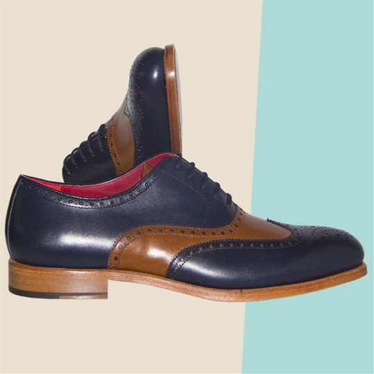 Navy and Brown Brogue