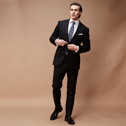 Black Jacquard Wool & Cashmere 2 Piece Suit