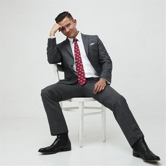 Slate Grey Wool Check 2 Piece Suit
