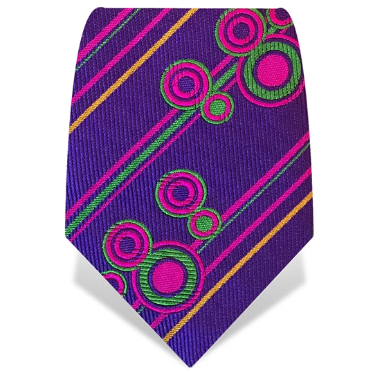Purple Stripes & Circles Tie